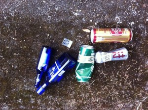 Bottles, cans, and a baggie collected on a leisurely walk.