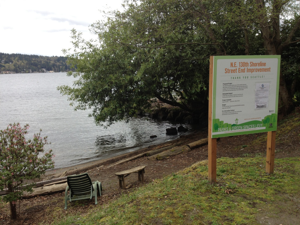 A small public beach on Lake Washington is in dispute at the end of NE 130th Street.
