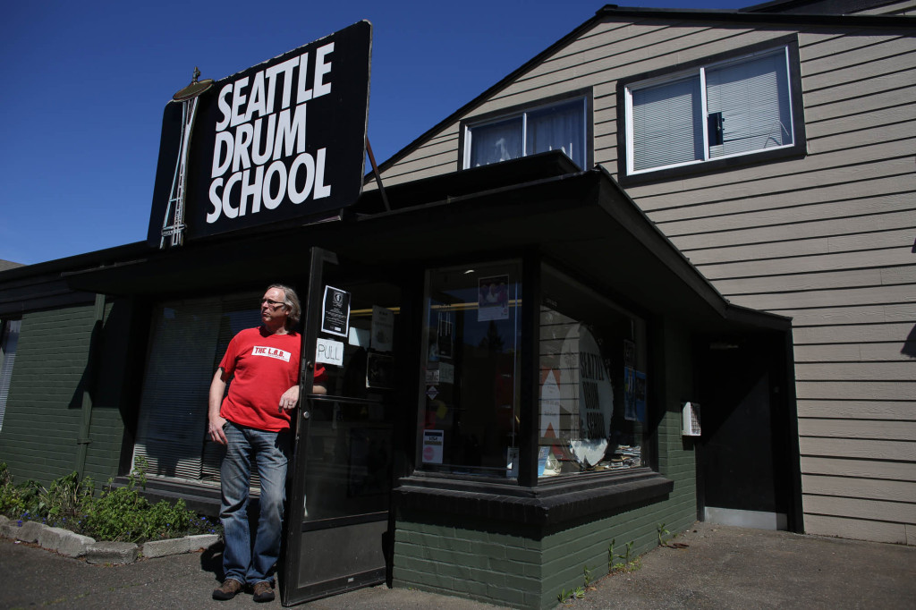 Steve Smith, owner of the Seattle Drum School, is shown at the building  in north Seattle on May 4, 2013. (seattlepi.com photo used with permission)