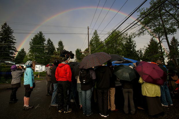 A double rainbow arcs overhead during a vigil for Sandhya Khadka, a 17 year-old student killed while crossing 5th Avenue Northeast while on her way to school at North Seattle Community College. She was hit by a truck while crossing near Northeast 115th Street. (Joshua Trujillo, seattlepi.com, used with permission)