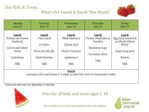 Menu - Week of June 23