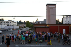 City leaders and Lake City residents gather at the old Fire Station 39. (LCL photo)