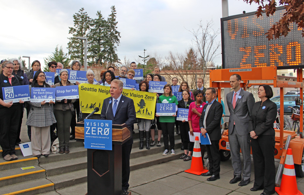 Mayor Ed Murray in front of the Lake City Library